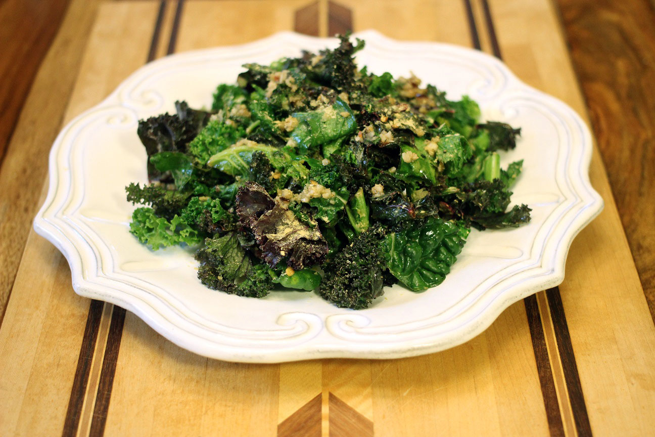 Mara's Tart & Spicy Warm Kale Salad